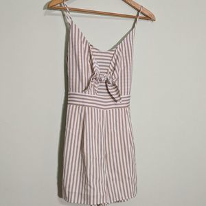 One Clothing Beige Striped Tie-Front Romper M